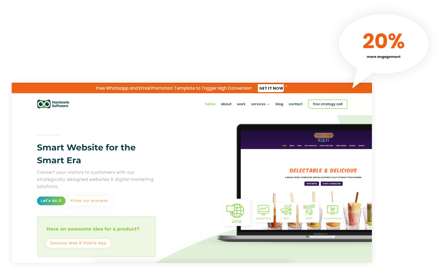 Engage website visitors with floating engagement bar