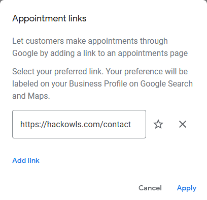 Google My Business Account - Appointment Links