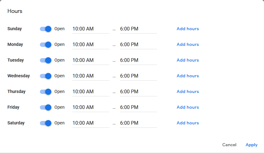 Google My Business Account - Hours