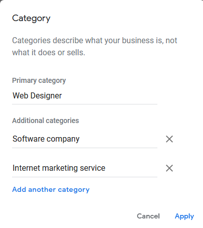 Google My Business Account - Primary & Secondary Category